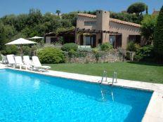 Vanuit zwembad zicht op villa